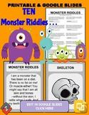 Halloween Monster Riddles: Who Am I Handout & Google Slide