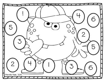 Monster Roll Say Color Dice Worksheets