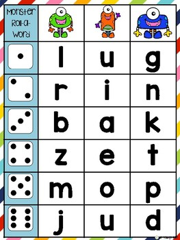 Monster Roll-a-Word: cvc phonics practice