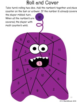 Monster Roll and Cover - An Adding or Number Recognition Game