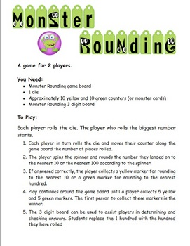 Monster Rounding 3-Digit Numbers center or math station