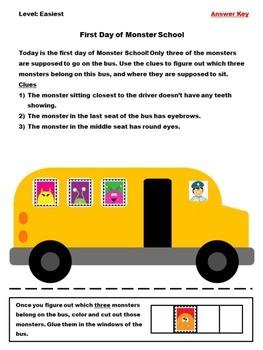 Logic Grid Puzzle - Monster School Bus