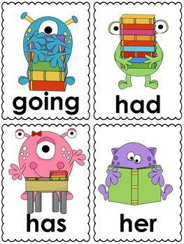 Monster School Word Cards (1st grade dolch)