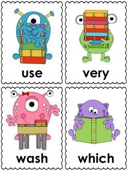 Monster School Word Cards (2nd grade dolch)