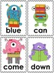 Monster School Word Cards (preprimer dolch)