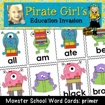 Monster School Word Cards (primer dolch)