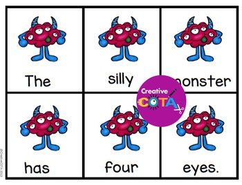 Monster Scrambled Sentences and Cut and Paste Build a Sentence Worksheets