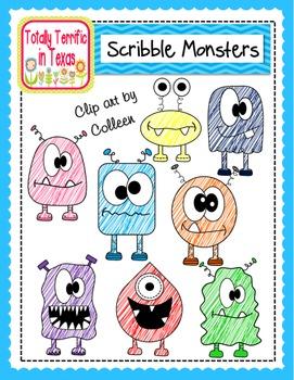 Monster Scribbles Clip Art