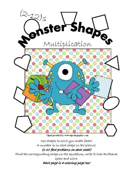 Monster Shapes Multiplication Worksheets