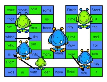 Monster Sight Word Board Game w/ Cards