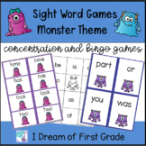 Monster Sight Word Concentration Games and Flashcards