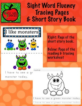 Monster Sight Word Fluency Pages and Book (by Priscilla Beth @Daycare Support)
