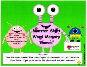 Monster Sight Word Memory Games-Kindergarten and First Grade