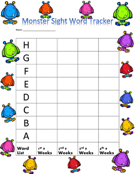 Monster Sight Word Tracker