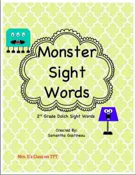 Monster Sight Words - 2nd Grade