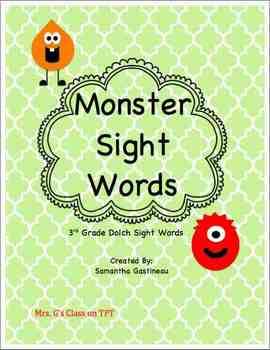 Monster Sight Words - 3rd Grade