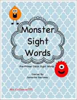 Monster Sight Words - Pre-Primer through 3rd Grade