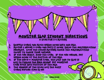 Monster Slap Multiplication Game