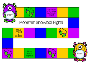 Monster Snowball Fight Game Board FREE