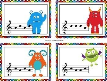 Monster Solfege Cards Sol Mi and Sol Mi La