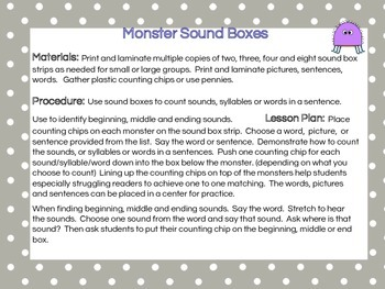 Monster Sound Boxes for Words, Syllables and Sounds