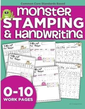 Monster Stamping and Number Handwriting Pages