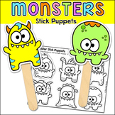 Monsters Stick Puppets Coloring Page