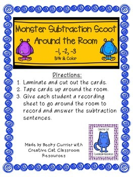 Monster Subtraction Scoot Around the Room