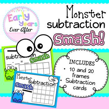Monster Subtraction Smash Playdough Mats
