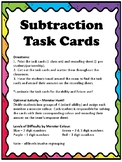 Monster Subtraction Task Cards Game