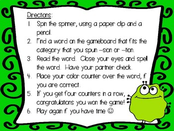 Monster Suffix Spinner Game -sion, -tion