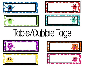 Monster Table/Cubbie Tags