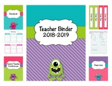 Monster Teacher Editable Binder 2018 - 2019 (Covers, Spines, Forms & Calendars)