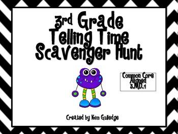 Monster Telling Time 3rd Grade Scavenger Hunt - Common Core 3.MD.1