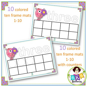 Monster Ten Frame Play-dough Mats Numbers 1-10