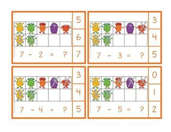 Monster Ten Frame Subtraction Clip Cards