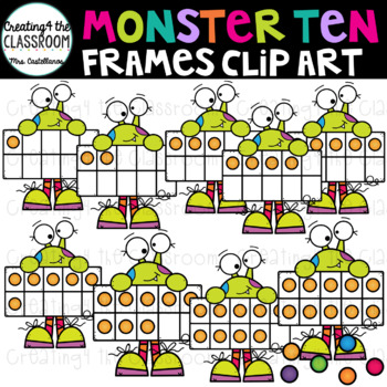 Monster Ten Frames Clip Art  {Halloween Clip Art}