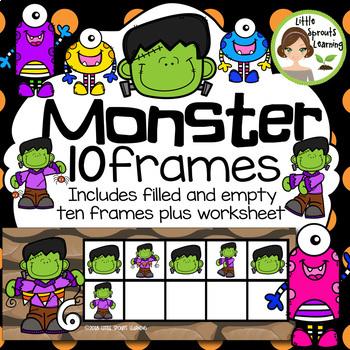 Monster Ten Frames (includes worksheet) Great for Halloween Math Centers!
