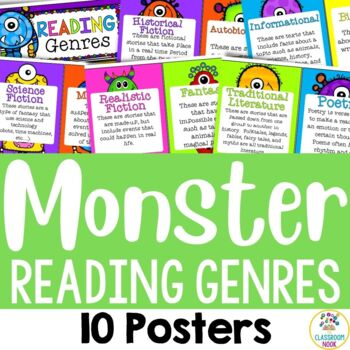 Monster Theme:  10 Reading Genre Posters