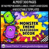 Monster Theme Classroom Decor EDITABLE (Monster Classroom Decor)