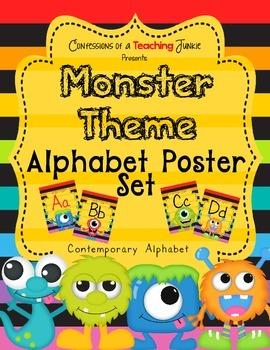 Monster Theme Alphabet Poster Set – Contemporary Print Version