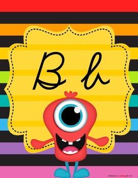 Monster Theme Alphabet Poster Set – Cursive Script Version
