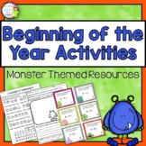 Monster Theme Beginning of the Year Activities