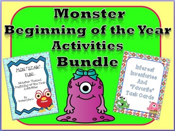 Monster Theme Beginning of the Year Printables Bundle