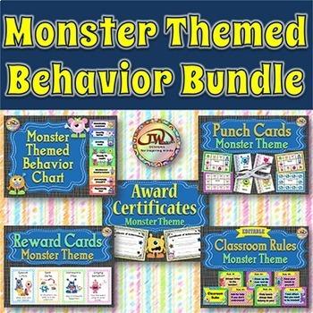 MONSTER Classroom Theme Behavior Management Bundle - Rewards, Goals, Certificate