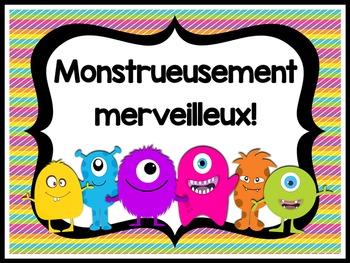 Monster Theme Behavior Chart FRENCH VERSION