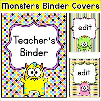 Editable Teacher Binder Covers - Monster Theme