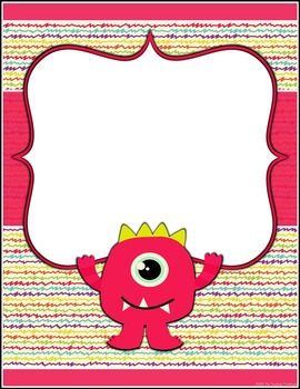 Monster Theme Binder Covers & Spine Labels