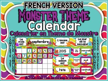 Monster Theme Calendar FRENCH VERSION