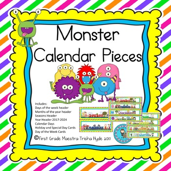 Monster Theme Calendar Numbers, Months, Days, Seasons